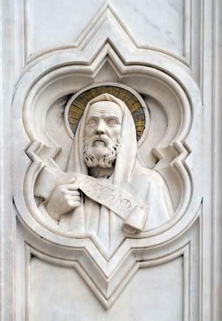Saint Joachim, relief on the facade of Basilica of Santa Croce (Basilica of the Holy Cross) - famous Franciscan church in Florence, Italy