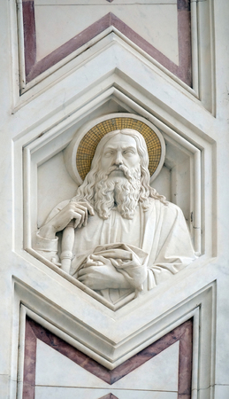 Apostle, relief on the facade of Basilica of Santa Croce (Basilica of the Holy Cross) - famous Franciscan church in Florence, Italy Editorial