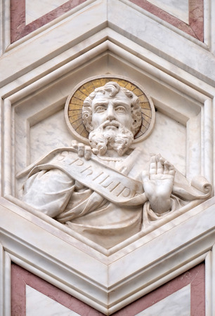 Saint Philip, relief on the facade of Basilica of Santa Croce (Basilica of the Holy Cross) - famous Franciscan church in Florence, Italy