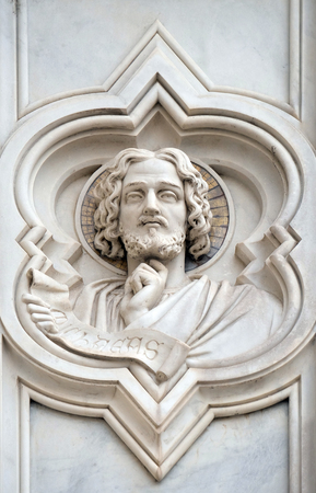 Micah, relief on the facade of Basilica of Santa Croce (Basilica of the Holy Cross) - famous Franciscan church in Florence, Italy