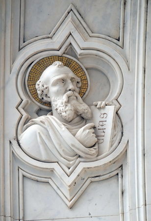 Elijah, relief on the facade of Basilica of Santa Croce (Basilica of the Holy Cross) - famous Franciscan church in Florence, Italy