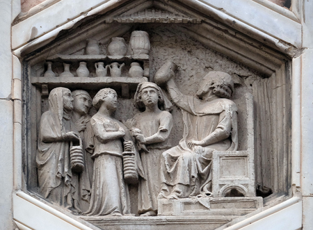Allegory of medicine from the workshop of Andrea Pisano, Relief on Giotto Campanile of Cattedrale di Santa Maria del Fiore (Cathedral of Saint Mary of the Flower), Florence, Italy