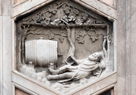 Noah by Collaborator of Andrea Pisano, 1334-36., Relief on Giotto Campanile of Cattedrale di Santa Maria del Fiore (Cathedral of Saint Mary of the Flower), Florence, Italy