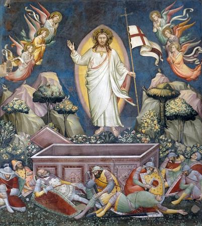 Resurrection, fresco by Niccolo di Pietro Gerini, Sacristy in Basilica di Santa Croce (Basilica of the Holy Cross) - famous Franciscan church in Florence, Italy