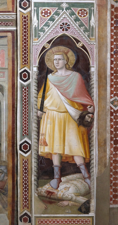 David holding Goliaths Head, part of the fresco cycle with Stories from the Life of the Virgin, by Taddeo Gaddi, Baroncelli Chapel in the Basilica di Santa Croce (Basilica of the Holy Cross) - famous Franciscan church in Florence, Italy