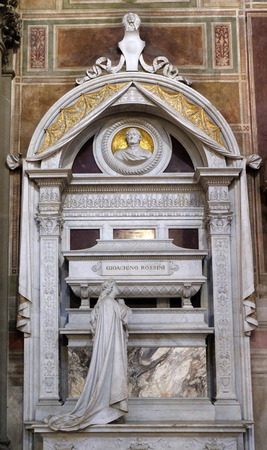 Tomb of Leonardo Bruni Italian humanist, historian and statesman1370 – 1444, by Bernardo Rossellino, Funerary monument, Basilica of Santa Croce (Basilica of the Holy Cross) in Florence, Italy