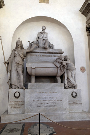 Marble cenotaph to Italian medieval poet Dante Alighieri designed by Italian Neoclassical sculptor Stefano Ricci, Basilica of Santa Croce (Basilica of the Holy Cross) in Florence, Italy.