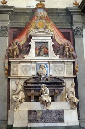 Tomb of Galileo Galilei (1564 – 1642) by Giulio Foggini, Basilica of Santa Croce (Basilica of the Holy Cross) in Florence, Italy.