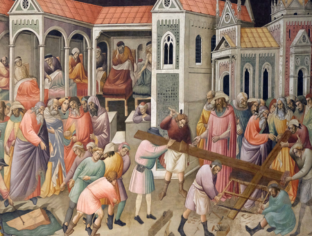 The Isrealites pulling up the wood from the pool where it was found to make the True Cross, fresco by Agnolo Gaddi in Basilica di Santa Croce (Basilica of the Holy Cross) - famous Franciscan church in Florence, Italy Redactioneel