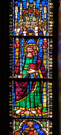 Saint Paul, stained glass window in the Basilica di Santa Croce (Basilica of the Holy Cross) - famous Franciscan church in Florence, Italy