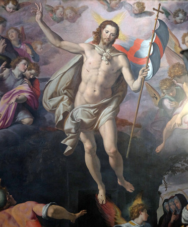 Resurrection of Christ by Santi di Tito, Basilica of Santa Croce (Basilica of the Holy Cross) in Florence, Italy