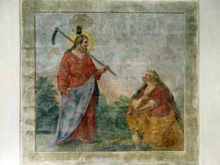 Risen Christ appearing to St. Mary Magdalene, fresco by circle of Giovanni da San Giovanni, Basilica di Santa Croce (Basilica of the Holy Cross) in Florence, Italy