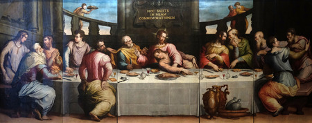 The Last Supper of Christ by Giorgio Vasari, Basilica di Santa Croce (Basilica of the Holy Cross) in Florence, Italy Editorial