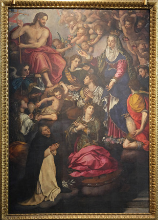 Apparition of Our Lady to St. Hyacinth, oil on panel, 1596 by Allori Alessandro, Santa Maria Novella Principal Dominican church in Florence, Italy