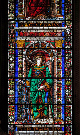 Saint Lawrence of Rome, stained glass window in Santa Maria Novella Principal Dominican church in Florence, Italy Editorial