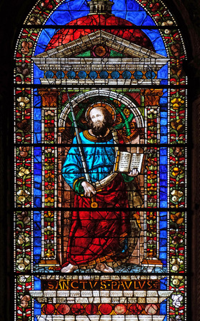 Saint Paul, stained glass window in Santa Maria Novella Principal Dominican church in Florence, Italy