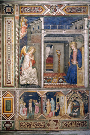 Annunciation to the Virgin Mary, Baptism of the Christ, Nativity by Pietro di Miniato, Santa Maria Novella Principal Dominican church in Florence, Italy