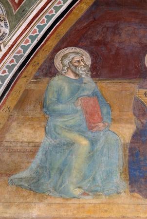 Job, detail of the Triumph of St. Thomas Aquinas, fresco by Andrea di Buonaiuto, Spanish Chapel in Santa Maria Novella Principal Dominican church in Florence, Italy