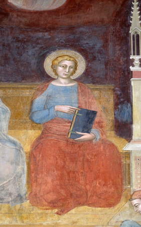 Saint John Evangelist, detail of the Triumph of St. Thomas Aquinas, fresco by Andrea di Buonaiuto, Spanish Chapel in Santa Maria Novella Principal Dominican church in Florence, Italy