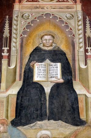 Święty Tomasz z Akwinu, fragment triumfu św. Tomasza z Akwinu, fresk Andrea di Buonaiuto, kaplica hiszpańska w kościele Dominikanów Santa Maria Novella