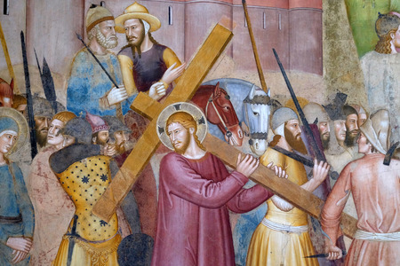 Christ Carrying the Cross, detail from Passion and Resurrection of Christ, fresco by Andrea Di Bonaiuto, Spanish Chapel in Santa Maria Novella Principal Dominican church in Florence, Italy Editoriali
