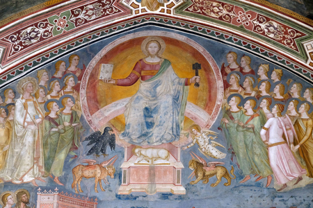 Christ in Glory, from the fresco of The Church Militant and Triumphant, by Andrea di Buonaiuto, Spanish Chapel in Santa Maria Novella Principal Dominican church in Florence, Italy Editorial