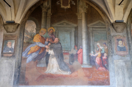 The apostles Peter and Paul appear to St. Dominic, fresco by Santi di Tito in the cloister of Santa Maria Novella Principal Dominican church in Florence, Italy
