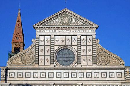 Detail from facade of Santa Maria Novella Dominican church in Florence, Italy