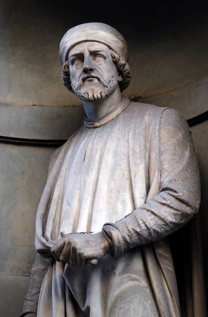Donatello, statue in the Niches of the Uffizi Colonnade. The first half of the 19th Century they were occupied by 28 statues of famous people in Florence, Italy Editorial