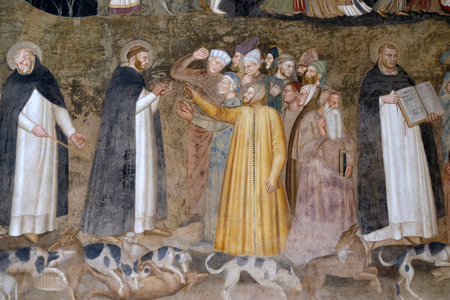 Saints Peter the Martyr and Thomas Aquinas Refute the Heretics, detail of the Active and Triumphant Church detail, fresco by Andrea Di Bonaiuto, Spanish Chapel in Santa Maria Novella Principal Dominic