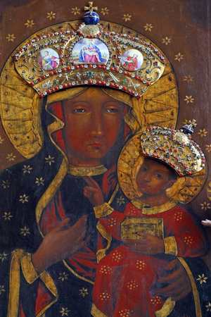 Our Lady of Czestochowa altarpiece in the church of Immaculate Conception in Lepoglava, Croatia Фото со стока