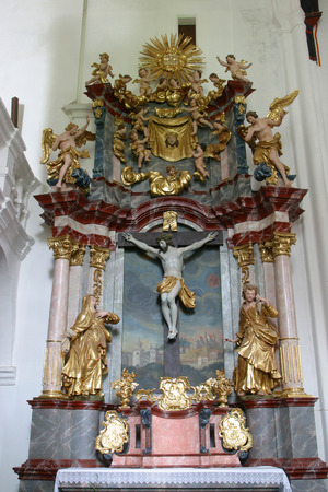 The altar of Holy Cross in the church of Immaculate Conception in Lepoglava, Croatia