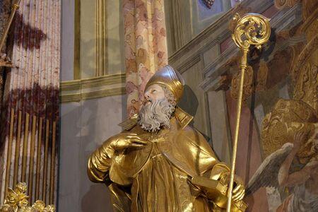 Saint Augustine of Hippo statue in the church of Immaculate Conception in Lepoglava, Croatia Banco de Imagens