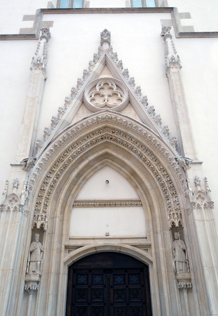West portal of the church of St. Mark in Zagreb, Croatia