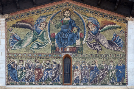 The Ascension of Christ the Saviour with the apostles below, The Romanesque Basilica of San Frediano, Lucca, Tuscany, Italy Stock Photo
