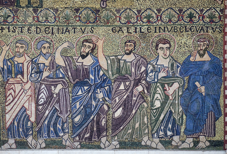 Apostles mosaic on the facade on Romanesque Basilica of San Frediano, Lucca, Tuscany, Italy