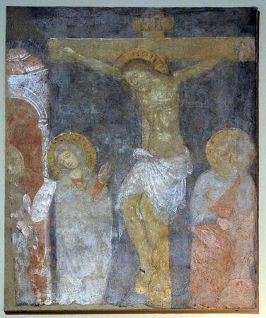 Crucifixion, Vierge Marie et Saint Jean sous la Croix, fresque de la Basilique de Saint Frediano, Lucca, Toscane, Italie