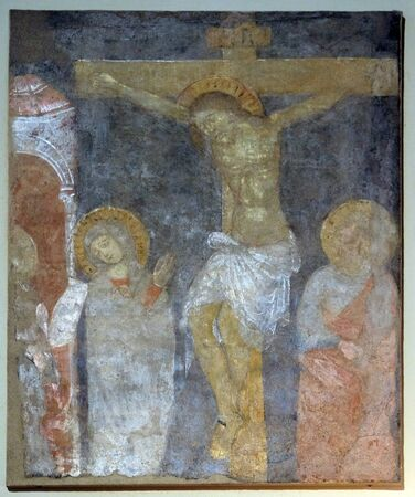 Crucifixion, Virgin Mary nd Saint John under the Cross, fresco painting in Basilica of Saint Frediano, Lucca, Tuscany, Italy Banque d'images