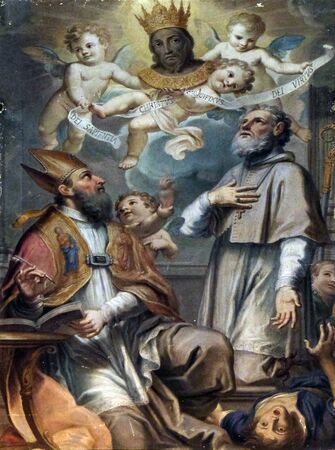 An unknown painter of the 17th century representing Holy Face, Saint Augustine and Saintt Ubaldo, Basilica of San Frediano, Lucca, Tuscany, Italy