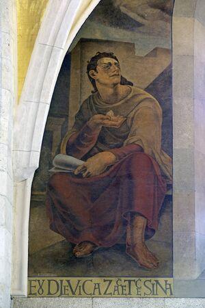 Prophet Isaiah, fresco in the church of St. Mark in Zagreb, Croatia