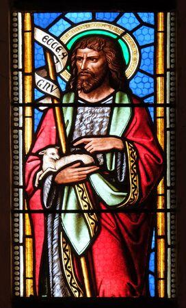 Saint John the Baptist, stained glass window in parish church of Saint Mark in Zagreb, Croatia