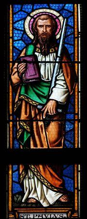Saint Paul the Apostle stained glass window in parish church of Saint Mark in Zagreb, Croatia
