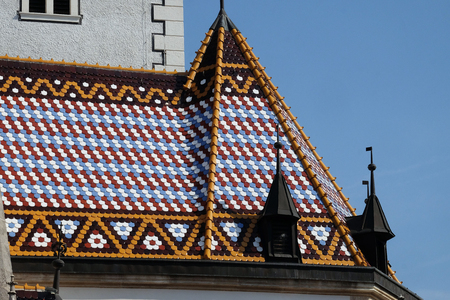 Checkered tiled rooftop of St Mark's church in Zagreb, Croatia
