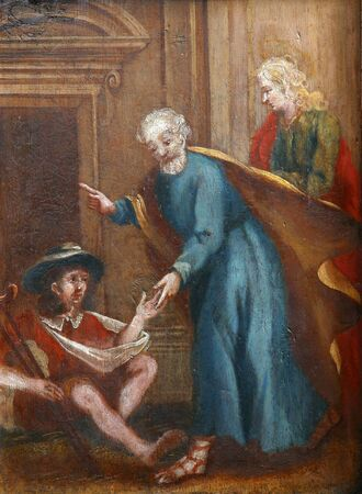 Scenes from the life of St. Peter, picture on a wardrobe in the sacristy of the church of the Immaculate Conception in Lepoglava, Croatia Standard-Bild