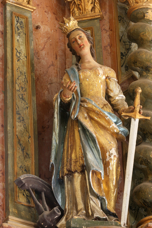 Saint Catherine of Alexandria, statue on altar in the chapel of the castle in Klenovnik, Croatia 写真素材