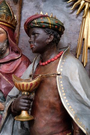 Balthazar, mages bibliques, Adoration des Mages, crèche, retable de l'église de Saint Matthieu à Stitar, Croatie