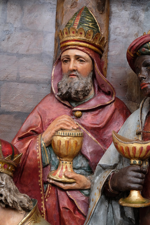 Gaspar, biblical Magi, Adoration of the Magi, Nativity Scene, altarpiece in the church of Saint Matthew in Stitar, Croatia Фото со стока
