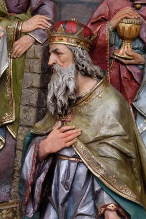 Melchior biblical Magi, Adoration of the Magi, Nativity Scene, altarpiece in the church of Saint Matthew in Stitar, Croatia