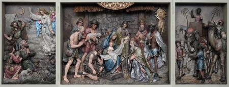 Nativity Scene, altarpiece in the church of Saint Matthew in Stitar, Croatia Banque d'images