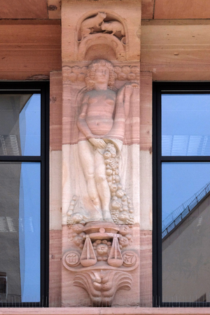 The astrological sign of Libra, relief on house facade in Aschaffenburg, Germany